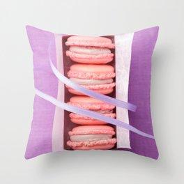 Pink macarons Throw Pillow