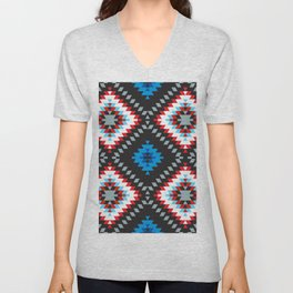 Colorful patchwork mosaic oriental kilim rug with traditional folk geometric ornament. Tribal style Unisex V-Neck