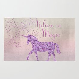 Pink and Purple Glamour Unicorn Believe in Magic Rug