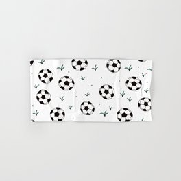 Fun grass and soccer ball sports illustration pattern Hand & Bath Towel