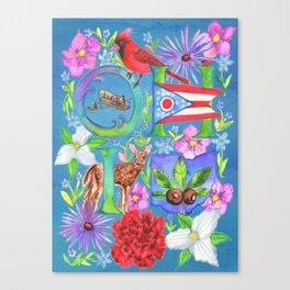Ohio Collage- Blue Canvas Print
