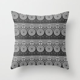 Flower-of-Life Design Sacred Geometry Black White Throw Pillow