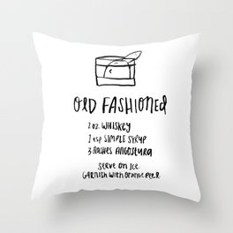 Old Fashioned Illustrated Cocktail Recipe Throw Pillow