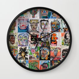 Basquiat Faces Montage Wall Clock