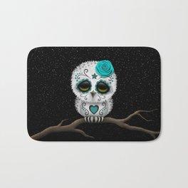 Adorable Teal Blue Day of the Dead Sugar Skull Owl Bath Mat