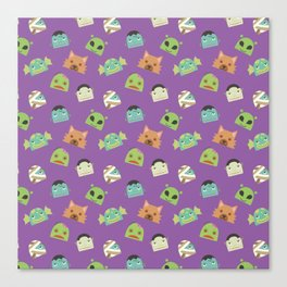 Halloween Monster Head Pattern Canvas Print