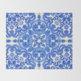 Cobalt Blue & China White Folk Art Pattern Throw Blanket