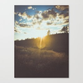 sunset slanted in a field Canvas Print