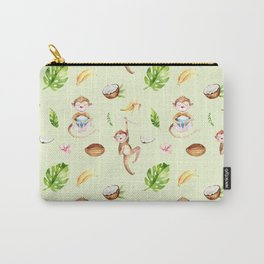 Cute pink brown watercolor hand painted monkey floral pattern Carry-All Pouch