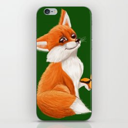 Cute fox playing with a butterfly iPhone Skin
