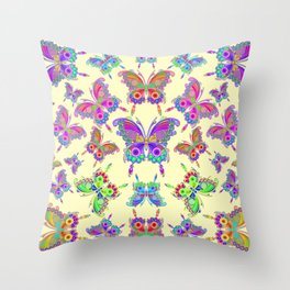 Butterfly Colorful Tattoo Style Pattern Throw Pillow