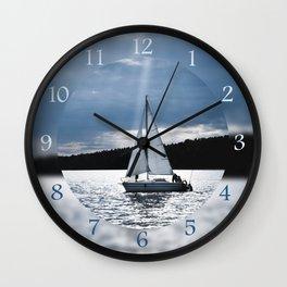 Blue moon light night sailing Wall Clock