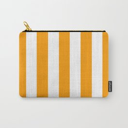 Orange (RYB) - solid color - white vertical lines pattern Carry-All Pouch