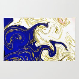 blue ,gold,rose,black,golden fractal, vibrations, circles modern pattern, Rug