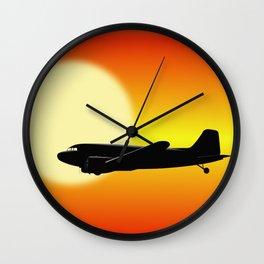 DC-3 passing sun Wall Clock