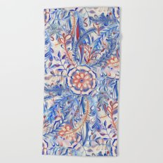 Boho Flower Burst in Red and Blue Beach Towel