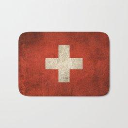 Old and Worn Distressed Vintage Flag of Switzerland Bath Mat