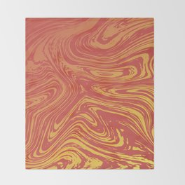 Red marble pattern with golden tint Throw Blanket