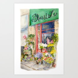 French Flower Store Front Art Print