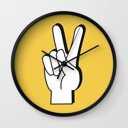 Peace Sign yellow Wall Clock