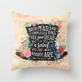 Mad Hatter Throw Pillow