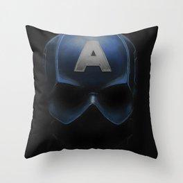 Capt America - Cowl Portrait Throw Pillow