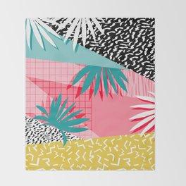 Bingo - throwback retro memphis neon tropical socal desert festival trendy hipster pattern pop art Throw Blanket