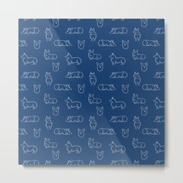 Corgi Pattern on Navy Background Metal Print