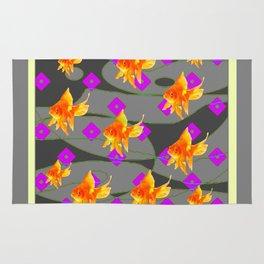 Decorative Gold Fish Modern Grey  Abstract Rug