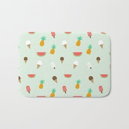 Summer Pattern cute ice creams, watermelon & pineapples Bath Mat