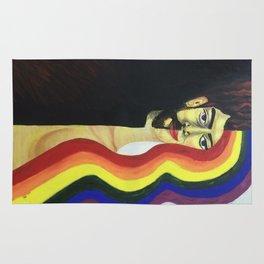 half face rainbow hair Rug