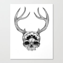 Mandala Skull With Gorgeous Antlers Canvas Print
