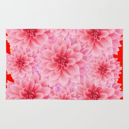 PINK DAHLIA FLOWERS IN RED COLOR ART Rug
