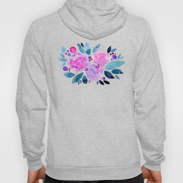 Abstract roses bouquet - pink and teal Hoody