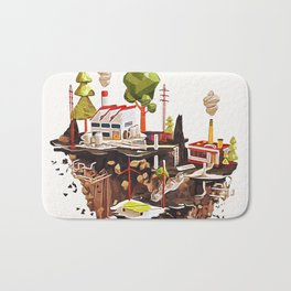 Floating Island in Low Poly style Bath Mat