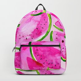 Pink Summer Watermelon Print Backpack