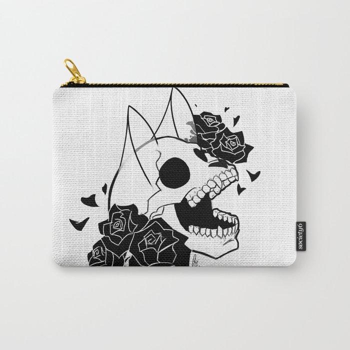 Skull 'n' Roses (ScribbleNetty-Black&White) Carry-All Pouch