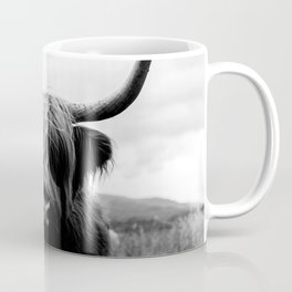 Scottish Highland Cattle Black and White Animal Kaffeebecher