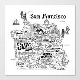 San Francisco Map Illustration Canvas Print