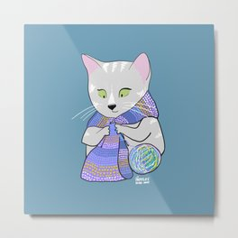 Autumn and winter cats - knitting Metal Print