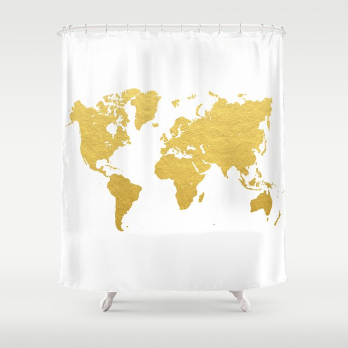 Gold world map shower curtain by bysamantha society6 gold world map shower curtain gumiabroncs Images