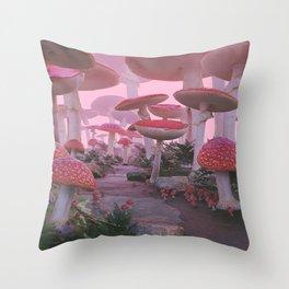 Mushroom Forest Throw Pillow