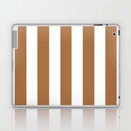 Metallic bronze - solid color - white vertical lines pattern Laptop & iPad Skin
