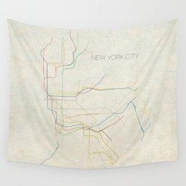 Minimal New York City Subway Map Wall Tapestry