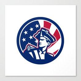 American Patriot USA Flag Icon Canvas Print