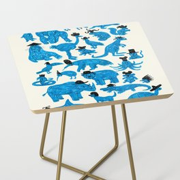 Blue Animals Black Hats Side Table