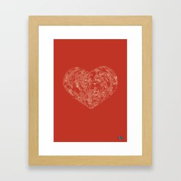 Love doodle (red and grey) Framed Art Print