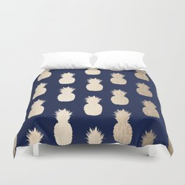 Gold Pineapple Pattern Navy Blue Duvet Cover