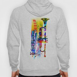 Abstract colorful music instrument painting.Trumpet, piano, musical notes, color splash, treble clef Hoody