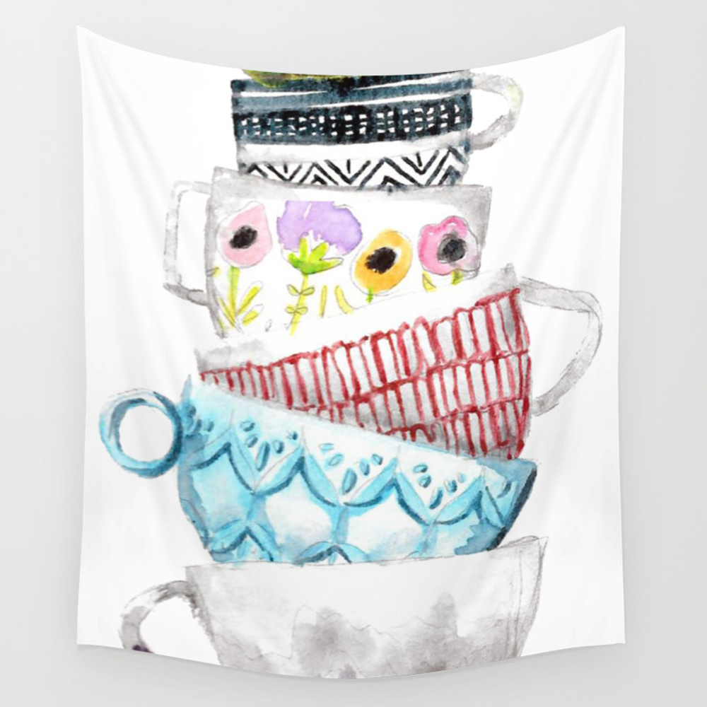 Cups On Cups On Cups Wall Tapestry by Hapticdrifter TPS8656197